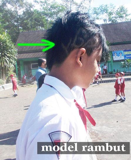"""salah satu siswa Sekolah Dasar yang membuat model rambutnya """"keren"""" bagi mereka"""