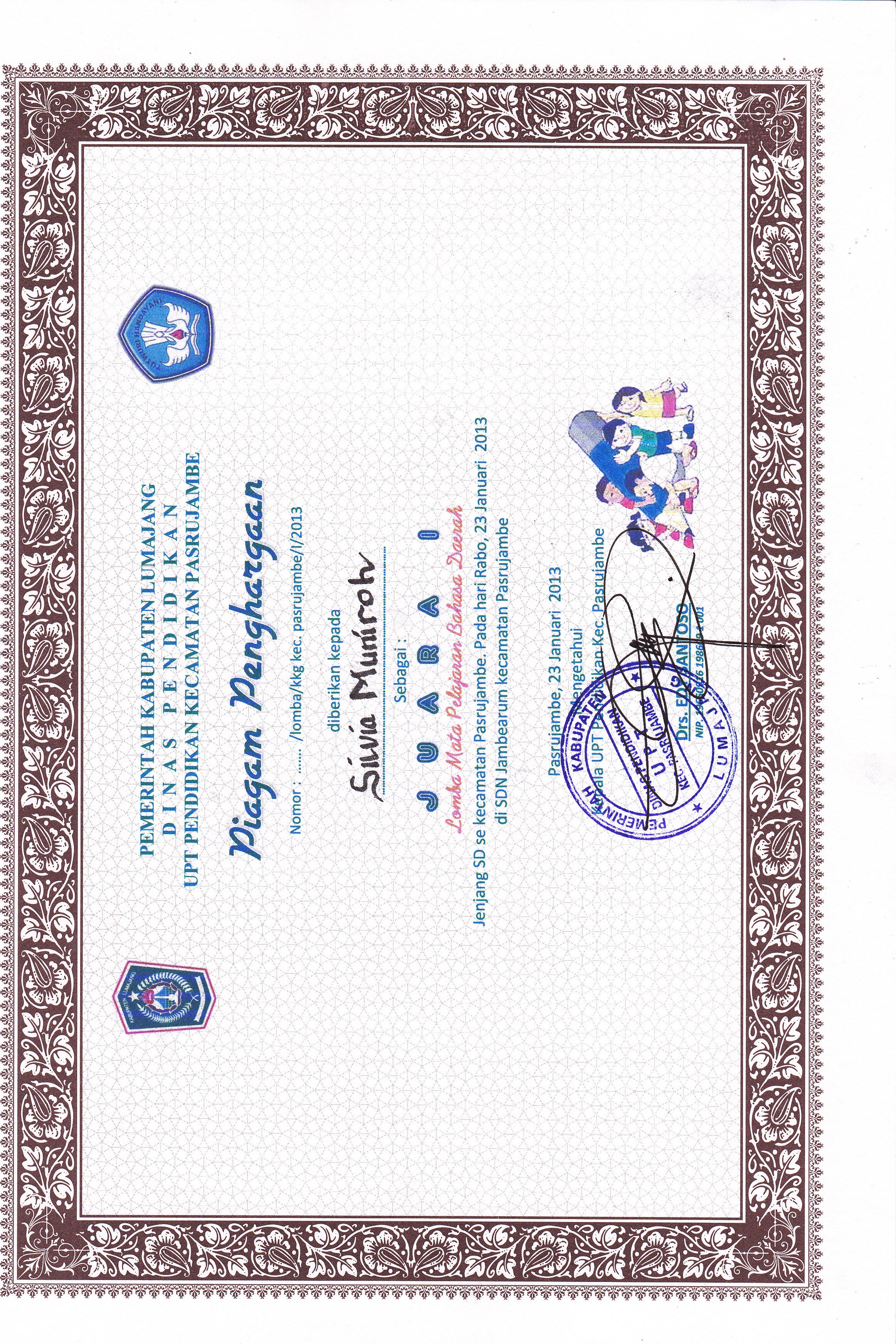 Piagam Penghargaan Siswa Prestasi Tingkat Kecamatan Ayo Mendidik