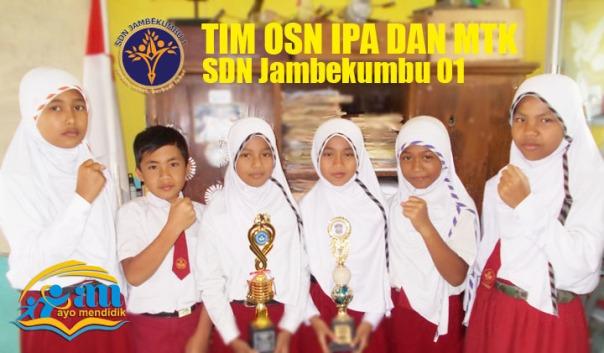 "TIM OSN  SDN Jambekumbu 01 dari Kiri Nimas, Wijaya, Sherly, Rofi', Refi, dan Nikmah"""